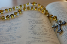 image of prayer beads, cross, and text of Psalm 51 for Ash Wednesday